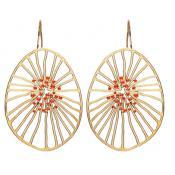 Boucles d'oreilles Joid'Art Rouges Dorées Ajourées J3017AR041300