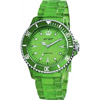 Montre Jet Set J16354-30 - Montre Ronde Verte Addiction Femme