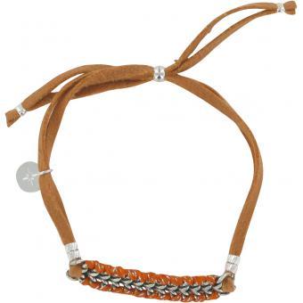 Bracelet Daim Orange Argent - Un Jour Mon Prince - Un jour mon prince