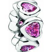 Charms Pandora Coeur Rose Argent 791252CZS