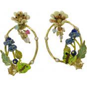 Boucles d'oreilles Fleur Laiton Multicolores - Les Néréides