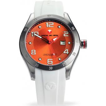 Montre Volkan 008W - Montre Blanche Orange Homme