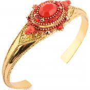Bracelet Satellite Dorée Rouge OA294