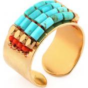 Bague Satellite Perles Turquoise LV70