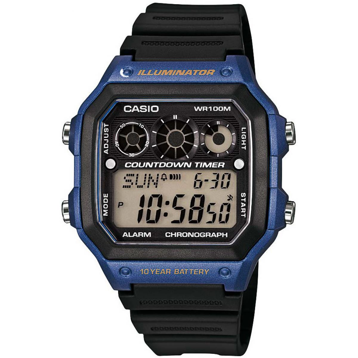 Montre Casio Collection AE-1300WH-2AVEF - Montre Illuminator Noire Bleue Homme