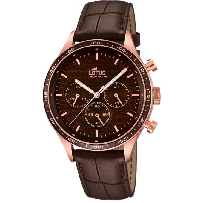 Montre Lotus 15966,2 , Montre Cuir Or Rose Marron Homme