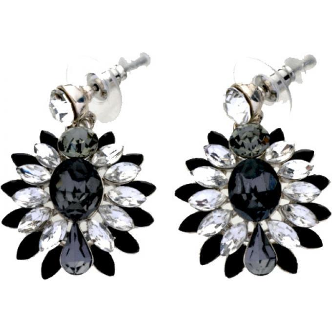 Bijoux Fantaisie Scooter : Boucles d oreilles fleurs marquises noires scooter