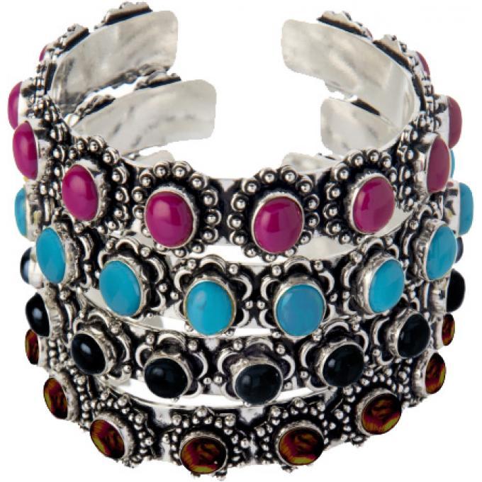 Bijoux Fantaisie Scooter : Bracelet m?tal argent? multicolore scooter bijoux