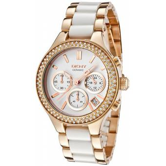 Montre DKNY Chambers NY8183 - Montre Blanche Rosée Originale Femme