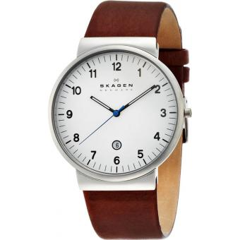 Montre Skagen Ancher SKW6082 - Montre Dateur Cuir Marron Homme