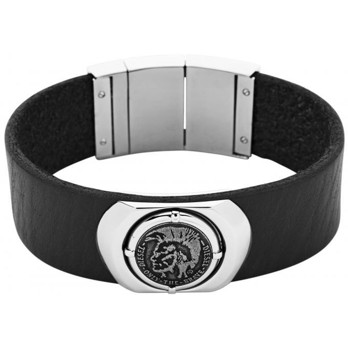 bracelet diesel bracelet cuir noir homme dx0799040. Black Bedroom Furniture Sets. Home Design Ideas