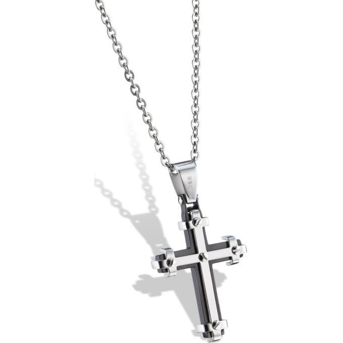 collier et pendentif sector sli05 collier et pendentif croix acier noire homme sur bijourama. Black Bedroom Furniture Sets. Home Design Ideas