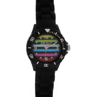 Montre Little Marcel LM16BKSN - Montre Rayures Multicolores Noire