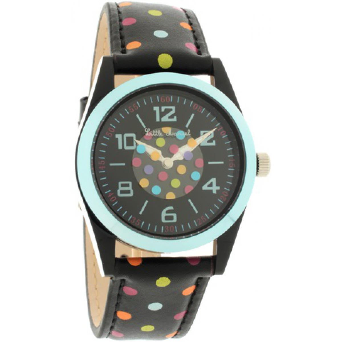 Montre Little Marcel LM26BLBC - Montre Noire Points Multicolores