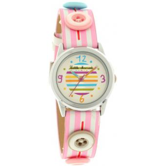 Montre Little Marcel LM33PKC - Montre Rayures Roses Boutons