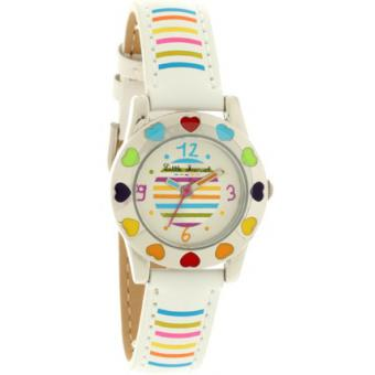 Montre Little Marcel LM34WTC - Montre Cuir Blanche Multicolore