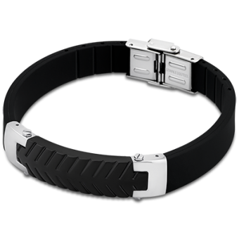 Bracelet Lotus Style LS1562-2-3 - Bracelet Tendance Noir Raffiné Homme