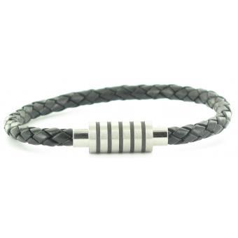 Bracelet Stahl Design 03577 5 - Bracelet Cuir Tressé Noir Homme
