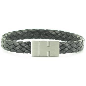 Bracelet Stahl Design 03596 5 - Bracelet Cuir Natté Noir Homme