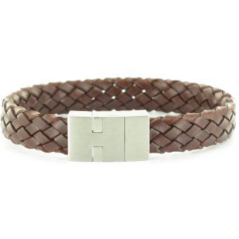 Bracelet Stahl Design 03597 5 - Bracelet Cuir Tressé Marron Homme