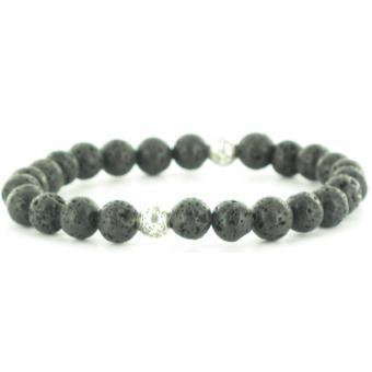 Bracelet Stahl Design 03817 4 - Bracelet Élastique Onyx Noir Homme