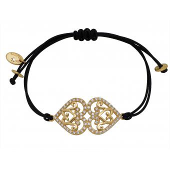 Bracelet Réminiscence 1BRA214P - Bracelet Noir Doré Femme - Reminiscence