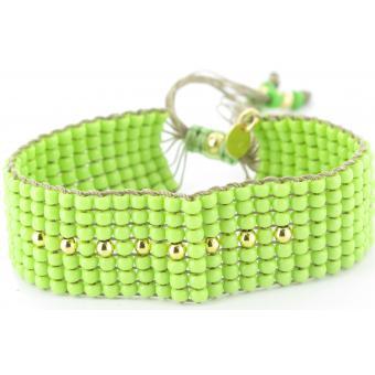 Bracelet L BY L AVARE PBRT7V-VERT - Bracelet Vert Raffiné Tendance Femme