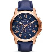Montre Fossil Cuir Bleue Chic FS4835