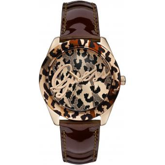 Montre Guess W0455L3 - Montre Cuir Ronde Marron Or Rose Femme