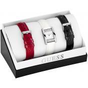 Montre Guess Montres Coffret Acier Carrées Rouge Blanche Noire W0295L1