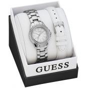 Montre Guess Montres Coffret Cuir Blanche Argent W0507L1 - Cadeau Saint Valentin