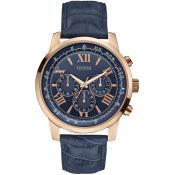 Montre Guess W0380G5 - Montre Cuir Croco Ronde Bleue Or Rose Homme