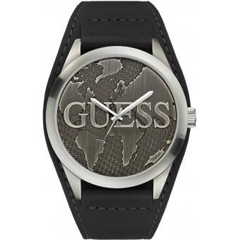 Montre Guess montre W0481G1 - Montre Bracelet De Force Cuir Noir Acier Brossé Homme