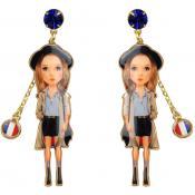 Boucles d'oreilles Métal Doré Noires Bleues - N2