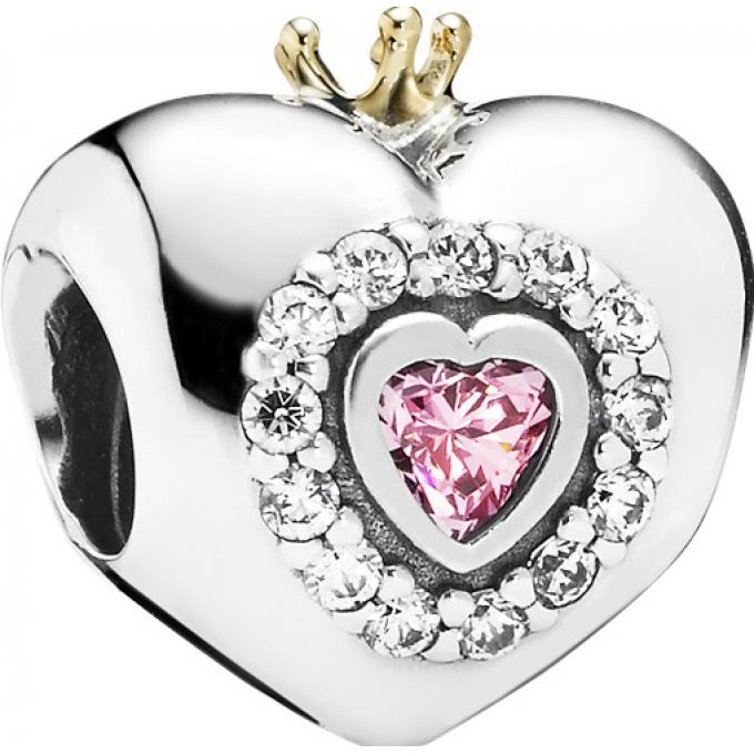71213ac10 Charm Pandora 791375PCZ - Charm Coeur Princesse Rose sur Bijourama ...
