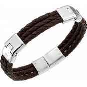 Bracelet Cerruti 1881 Bijoux Cuir Marron Argent RH51237M