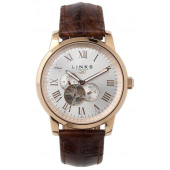Montre Links of London 6020.1056 - Montre Ronde Cuir Dorée Homme