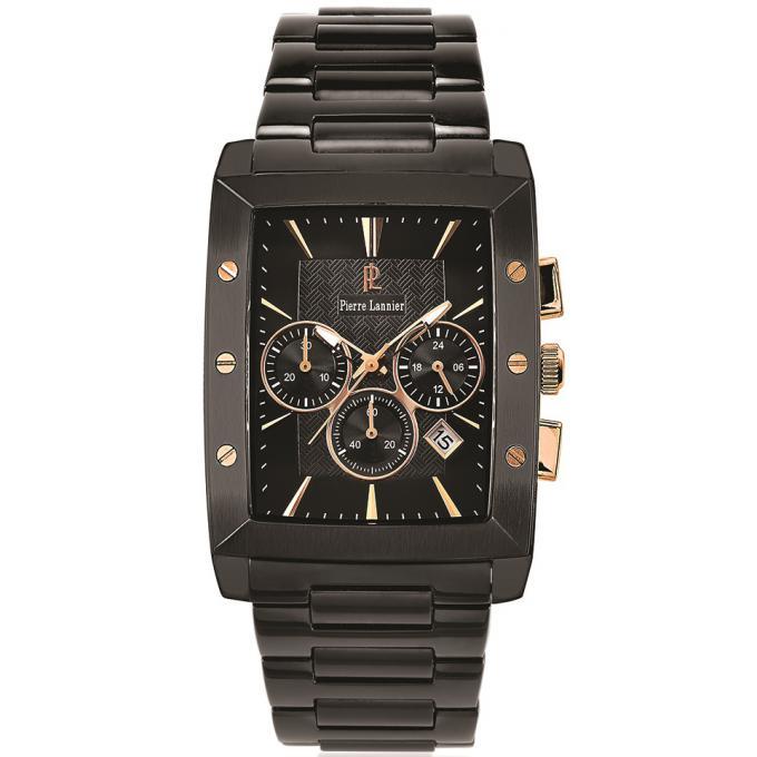 montre pierre lannier 232d439 montre noir rectangulaire ros e homme sur bijourama montre. Black Bedroom Furniture Sets. Home Design Ideas