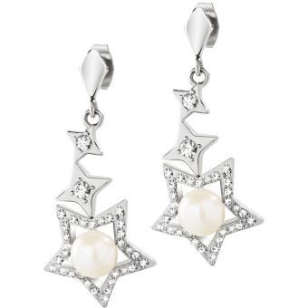 Boucles d'oreilles Morellato SACR05 - Boucles d'oreilles Perles Étoiles Empierrées Femme
