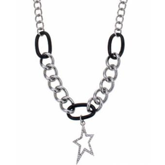 Collier Thierry Mugler T41271NZ - Collier Noir Argenté Authentique Femme