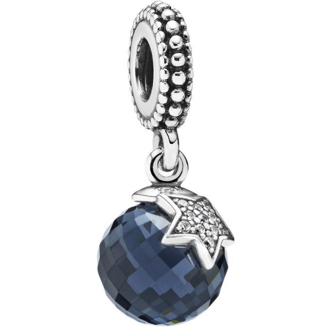 Charm Pandora 791392NBC , Charm Lune Etoile Bleu Nuit