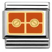 Charms Nomination Plaque Avec 2 Vis Oranges 030280-30
