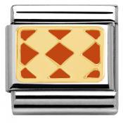 Charms Nomination Plaque Avec 4 Losanges Oranges 030280-31