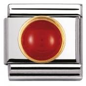 Charm Nomination Rond 030503-04 - Charm Agate Rouge Mixte