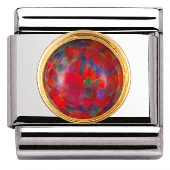 Charm Nomination Rond 030503-08 - Charm Opale Rouge Mixte