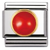 Charm Nomination Rond 030503-11 - Charm Corail Rouge Mixte