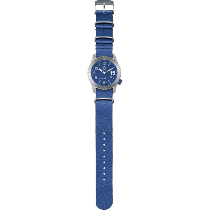 Montre Serge Blanco SB1140-8 - Montre Cuir Bleue Mode Homme