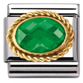 Charm Nomination Facette 030602-027 - Charm Emeraude Verte Mixte