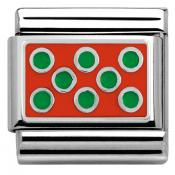 Charm Nomination Plaque 330206-09 - Charm Points Verts Sur Fond Rouge Mixte