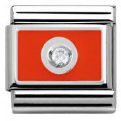 Charms Nomination Blanc Sur Rouge 330315-03